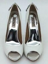 Badgley Mischka Kiara White Satin Bridal Heels Size 8