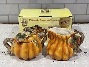Pumpkin Patch Cracker Barrel Sugar and Creamer Set In Box Glazed Ceramic