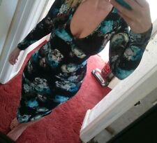 BNWT Size 14 black / turquoise floral bodycon dress.
