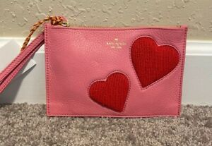 Kate Spade On Purpose Mini Leather Wristlet Pink And Red Beaded Hearts NWT