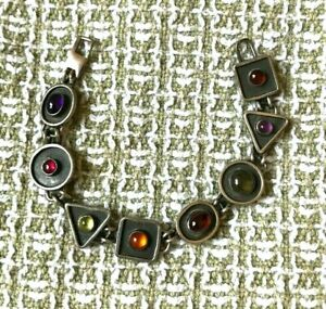 Handmade Sterling Silver Bracelet Geometric Links Multi-colored Stones Signed