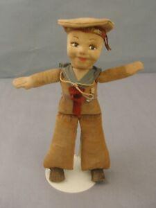 """Nora Wellings Cloth Sailor Doll 1920's Ship """"R.M.S. CALCUTTA"""" rare color"""