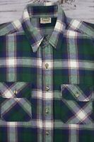 FIVE BROTHER Men's Large Vtg Heavy Flannel Shirt Plaid Blue Green White USA Made