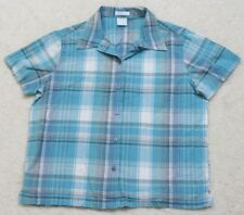 Traditions Dress Shirt Large Cotton Short Sleeve Blue Button Up Great Northwest