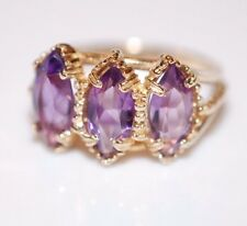 14K Yellow Gold 3-stone Marquise Amethyst Ring Size 6.5