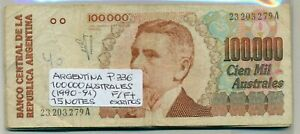 ARGENTINA BUNDLE 15 NOTES 100000 AUSTRALES (1990-91) P 336 F/F+