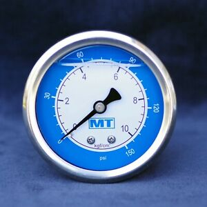 "Silicon Oil filled Pressure Gauge 63mm 150PSI 10Bar G1/4"" SS304 Panel Mount 150P"