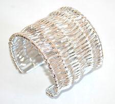 BRACCIALE RIGIDO argento donna a schiava regolabile bigiotteria bracelet A44