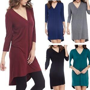 USA Women V-Neck A-Line Dress 3/4 Sleeve Solid Hi-Low Hem Tunic Rayon Jersey