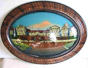 """Antique Oval REVERSE PAINTING Bubble GLASS Versailles France 19x25"""" FREE SH"""