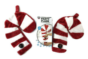 Big Mouth Christmas Cocktails Fleece Candy Cane Party Flask Lot of 2 Never Used
