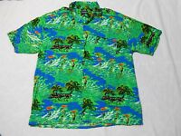 Puritan Shirt Size Large Palm Trees Surfers Buttons Hawaiian Green Blue
