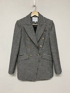 Witchery Size 8 Houndstooth Blazer Gold Buttons