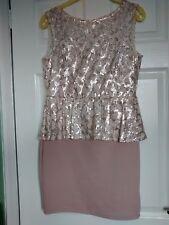 MISS SELFRIDGE SHELL PINK PEPLUM DRESS SIZE 12 (worn once) rrp £60