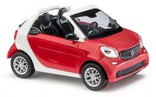 Busch 50778 - 1/87/h0 Smart Fortwo Cabriolet 2015-Rouge/Blanc-Neuf