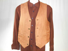 True Breed Brown Leather Mens M Vest RN 52469