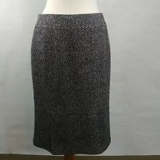 LAFAYETTE 148 Luxe Cashmere Camel Hair Wool Black Gray Pencil Skirt Size 10