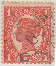 (LX-8) 1897 QLD 1d red QVIC cancel (BOROREN)