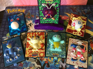 Lot Of 7 Pokemon Power Card 3-D burger king toys Pokemon the Movie 2000 Vintage