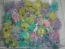 Mini Flower Shiny Glittery Cute Plastic Hair Snap Claw Styling Lot of 144 Clips