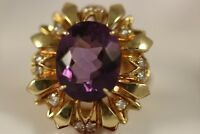 ANTIQUE HEAVY WIDE 18K YELLOW GOLD BIG AMETHYST DIAMOND ART DECO FLOWER RING