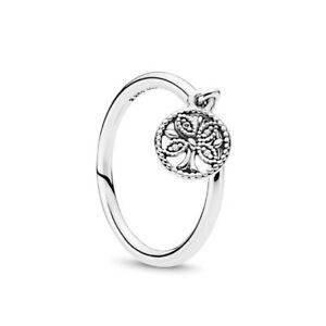 Solid 925 Sterling Silver Sparkling Dangling Family Tree Crystal Stone Ring Gift