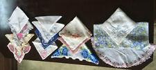 15 Vtg hankies handkerchiefs floral edged square rectangles circles cotton clean