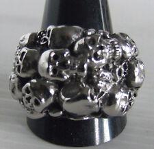 Stainless Steel Skull Cluster Biker Ring Custom Size Chopper Handmade MC R-48ss