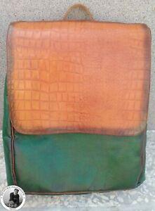 Handmade Men Genuine Brown,Green Leather Crocodile Print Custom Design Backpack
