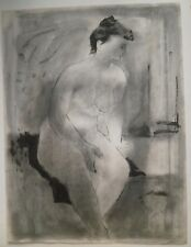 """Nude Sitting on Blanket Ink 24 x 18"""" Oil Crayon Drawing-1959-August Mosca"""