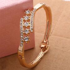 Women Girl Gold Plated Crystal Rhinestone Cuff Bangle Charm Bracelet