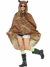 Ladies Teens Tiger Poncho Waterproof Festival Concerts Hen Party Costume Fun