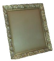 """Vintage Mid Century Filigree Floral Gold Tin Metal Photo Picture Frame 5/"""" x 7/"""""""