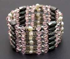 SALE 4-5mm White Natural Pearl and Pink Crystal & Hematite 36'' Bracelet-bra360