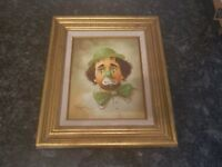 Hoppin Oil Painting on Canvas Sad crying clown green tie and hat