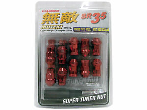 MUTEKI SR35 20PCS WHEELS TUNER LUG + LOCK NUTS (CLOSE END/12X1.5/RED) ##