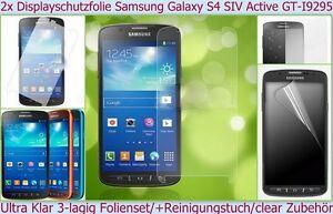 2 x Display Schutz folie Samsung Galaxy S4 Active Kristall Klar Clear Ultra Film