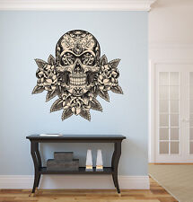 Mexican Sugar Skull Wall Decal with roses dia de los muertos Art Wall Decal