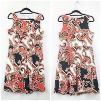 Merona 14 Womens 70's Print Sleeveless Pleated A-line Midi Dress