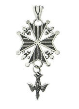 "Chuck Norton ""Legacy"" Huguenot Cross Necklace in Sterling Silver"