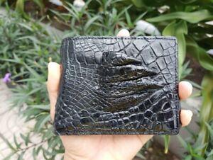 Premium Black Genuine Crocodile Alligator Feet Skin Leather Men Bifold Wallet