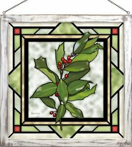 Cherie Serrano Holly Berries Framed Stained Glass Window Panel