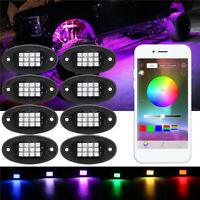 8x RGB LED Under Body Light Mini Rock Lamp Offroad Truck Boat Bluetooth Wireless