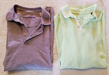 Lot of 2 Tommy Bahama Short Sleeve Polo Rugby Shirts Medium green purple