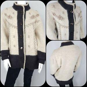 Vintage Angora Blend Cardigan Jacket Size 14/16/18 Fluffy 80s Oversize