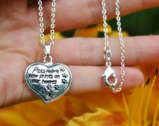 Pet Memorial NECKLACE Pets Leave Paw Prints on Heart .925 Sterling Silver Chain