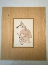 Vintage Antelope Mother and Baby Print with Grasscloth Mat Artist Linda K Powell