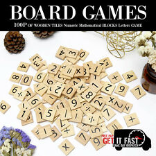 BOARD GAME 100 WOODEN TILES NUMERIC MATHEMATICAL BLOCKS LETTERS CRAFTS MATH GAME