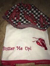 """mww market lobster bib And Dish Towel """"butter Me Up"""" NWT"""