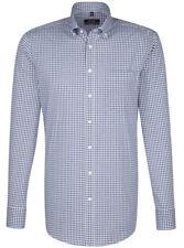 Modern fit Seidensticker Splendesto Hemd blau weiß & braun weiß kariert langarm